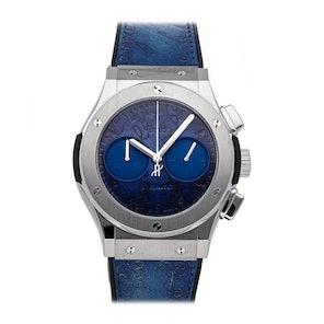 Hublot Classic Fusion Chronograph Berluti Scritto Ocean Blue Limited Edition 521.NX.050B.VR.BER18