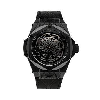 Pre-Owned Hublot Big Bang Unico Sang Bleu All Black Limited Edition 415.CX.1114.VR.MXM17